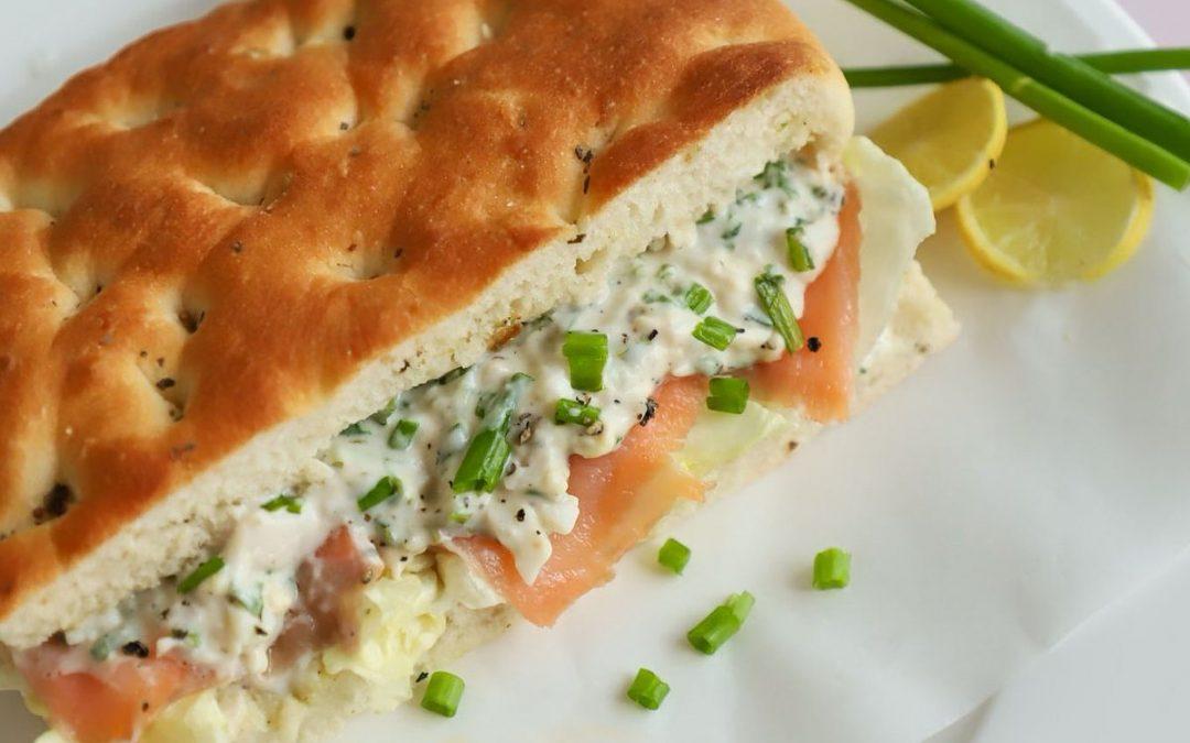 How to Make Egg Salad Salmon on Focaccia