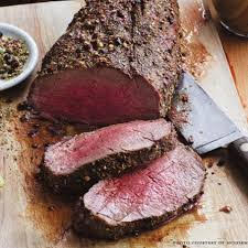 Roasted Filet of Beef with Peppercorn Crust
