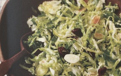 Shaved Brussels Sprout Salad with Cranberries and Almonds