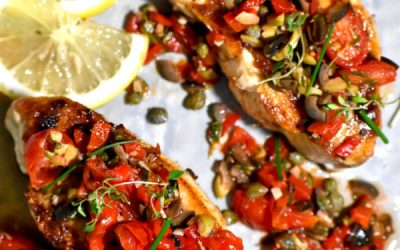 How to cook Pan-seared red snapper with black tapenade